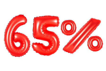 sixty five 65 percent from red balloons on a white background. discounts and sales, holidays and education