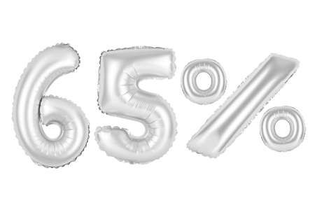 sixty five 65 percent from chrome (grey) balloons on a white background. discounts and sales, holidays and education