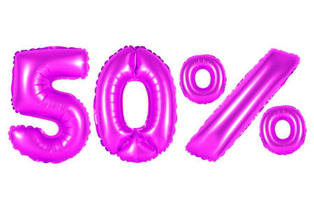 Fifty 50 percent from purple balloons on a white background. discounts and sales, holidays and education