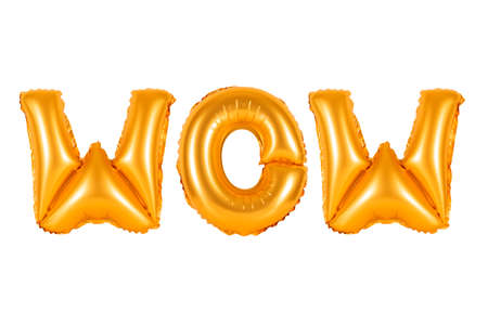 wow in english alphabet from orange balloons on a white background. holidays and education.