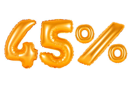 counting five: forty five 45 percent from orange balloons on a white background. discounts and sales, holidays and education