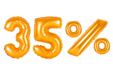 thirty five 35 percent from orange balloons on a white background. discounts and sales, holidays and education