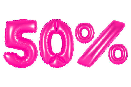 counting five: fifty 50 percent from pink balloons on a white background. discounts and sales, holidays and education