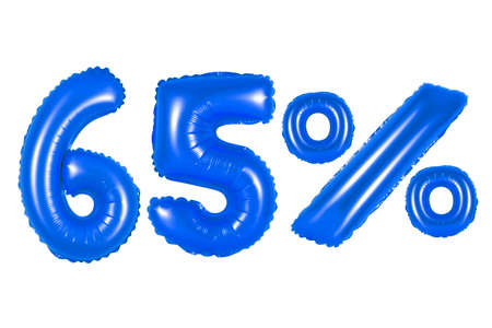 sixty five 65 percent from dark blue balloons on a white background. discounts and sales, holidays and education