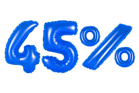counting five: forty five 45 percent from dark blue balloons on a white background. discounts and sales, holidays and education Stock Photo