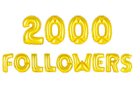 Gold alphabet balloons, 2000 (two thousand) followers, Gold number and letter balloon Stock Photo