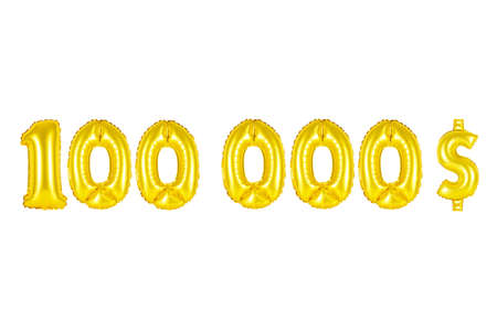 Gold alphabet balloons, one hundred thousand dollars, Gold number and letter balloon