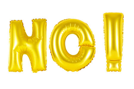 Gold alphabet balloons, acronym and abbreviation, no, Gold number and letter balloon Stock Photo