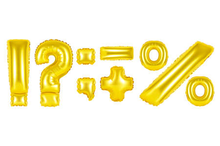 Gold alphabet balloons, punctuation marks, Gold number and letter balloon Stok Fotoğraf
