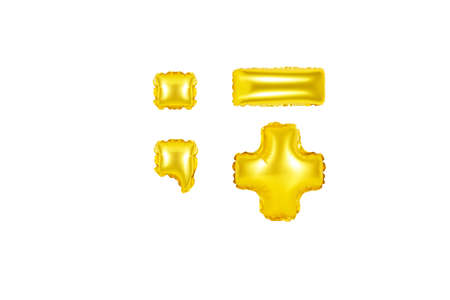 Gold alphabet balloons, punctuation marks, part 2, Gold number and letter balloon Stok Fotoğraf