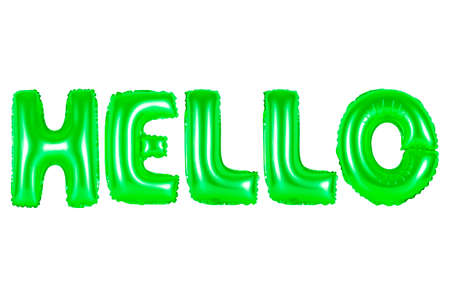 Hello, green number and letter balloon Imagens