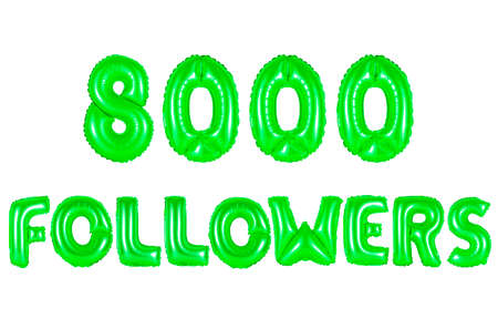 eight thousand followers, green number and letter balloon