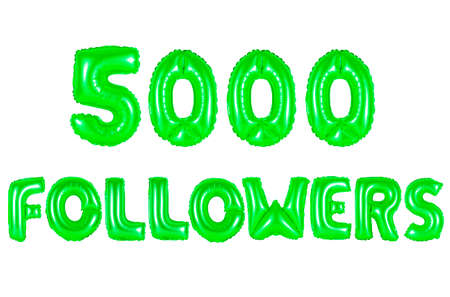 five thousand followers, green number and letter balloon