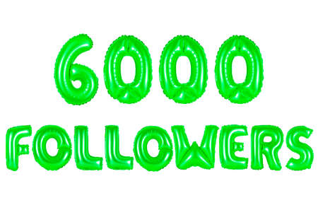 six thousand followers, green number and letter balloon Stock Photo
