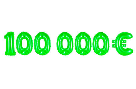 one hundred thousand euros, green number and letter balloon