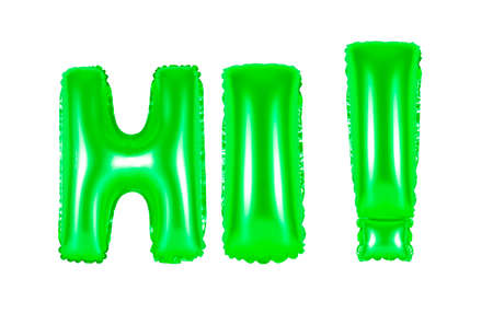hi, greeting, green number and letter balloon