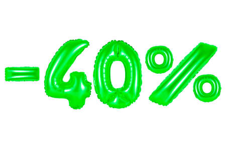 christmas gift: forty percent off, green number and letter balloon