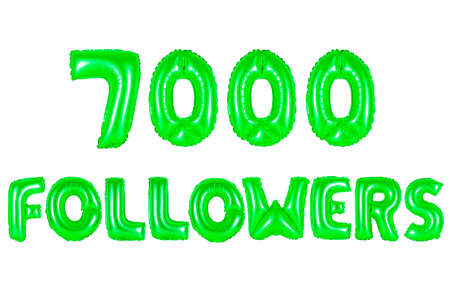 seven thousand followers, green number and letter balloon