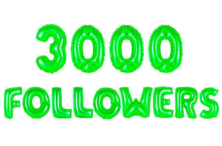 three thousand followers, green number and letter balloon