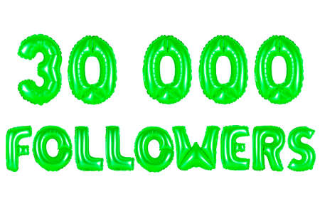 30K (thirty thousand) followers, green number and letter balloon