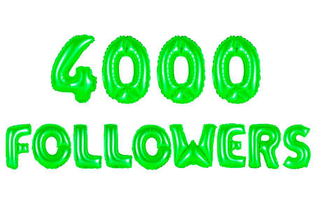 green alphabet balloons, 4000 (four thousand) followers, green number and letter balloon Stock Photo