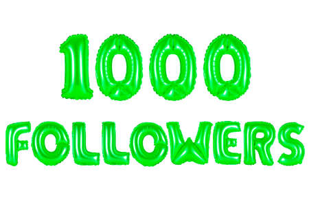 one thousand followers, green number and letter balloon