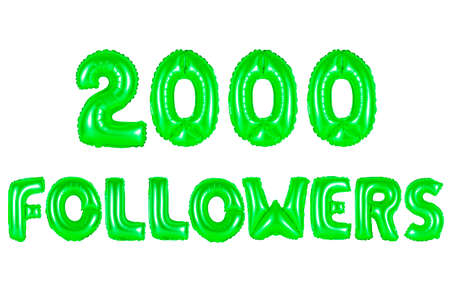 two thousand followers, green number and letter balloon Stock Photo