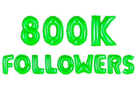 eight hundred thousand followers, green number and letter balloon Stock Photo