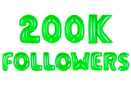 two hundred thousand followers, green number and letter balloon Stock Photo