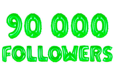 90K (ninety thousand) followers, green number and letter balloon