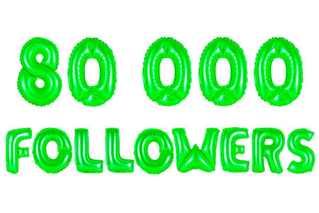80K (eighty thousand) followers, green number and letter balloon Stock Photo