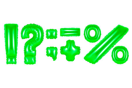 punctuation marks, green number and letter balloon