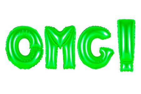 acronym and abbreviation, omg, green number and letter balloon