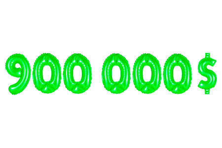 nine hundred thousand dollars, green number and letter balloon Stock Photo