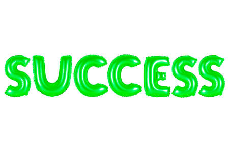 success, green number and letter balloon
