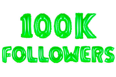 one hundred thousand followers, green number and letter balloon Stock Photo