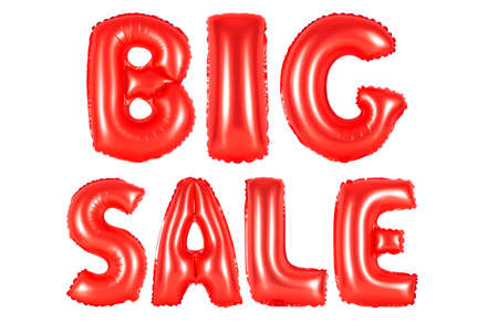 red alphabet balloons, big sale, red number and letter balloon Stock Photo