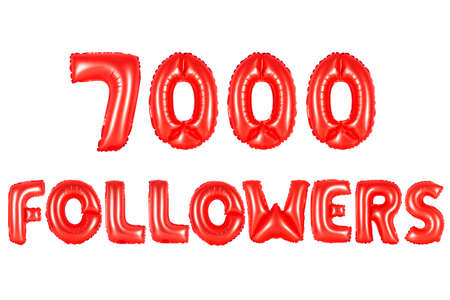 red alphabet balloons, 7000 (seven thousand) followers, red number and letter balloon