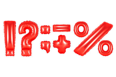 red alphabet balloons, punctuation marks, red number and letter balloon Stok Fotoğraf
