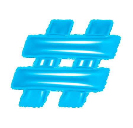 blue alphabet balloons, hashtag sign on isolated background