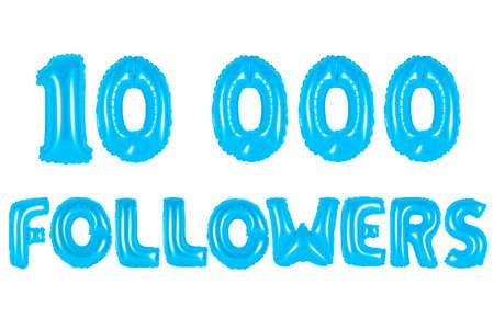 blue alphabet balloons, 10K (ten thousand) followers, blue number and letter balloon