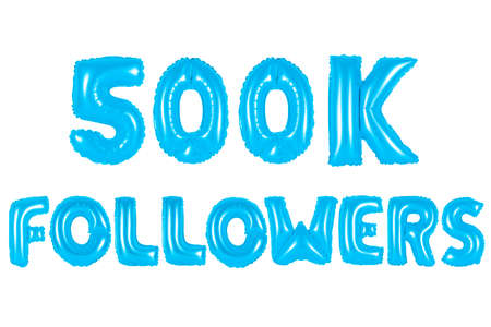 blue alphabet balloons, 500K (five hundred thousand) followers, blue number and letter balloon