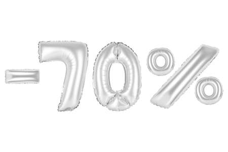 chrome (grey) alphabet balloons, 70 percent, seventy percent off, chrome (grey) number and letter balloon Stock Photo