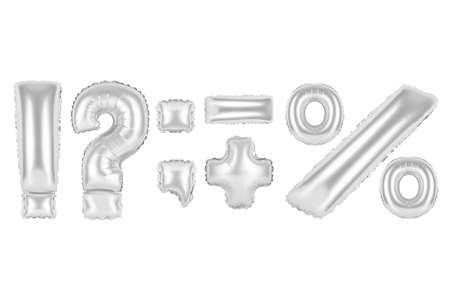 chrome (grey) alphabet balloons, punctuation marks, chrome (grey) number and letter balloon Stock Photo