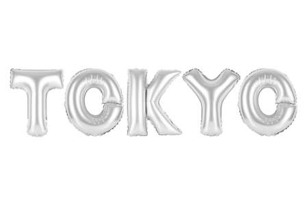 chrome (grey) alphabet balloons, Tokyo, chrome (grey) number and letter balloon Stock Photo