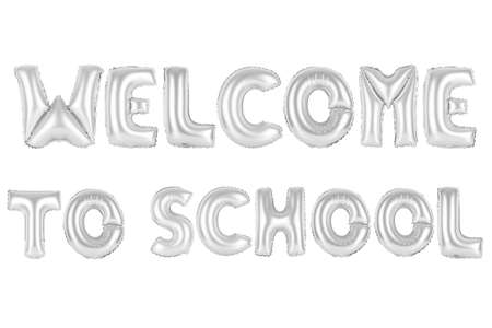 chrome (grey) alphabet balloons, welcome to school, chrome (grey) number and letter balloon Stock Photo