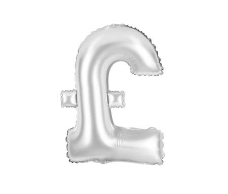 chrome (grey) alphabet balloons, pound sterling sign, chrome (grey) number and letter balloon