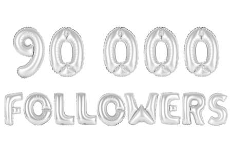 chrome (grey) alphabet balloons, 90K (ninety thousand) followers, chrome (grey) number and letter balloon