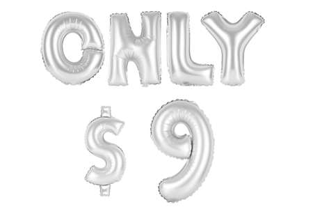 chrome (grey) alphabet balloons, only nine dollars, chrome (grey) number and letter balloon