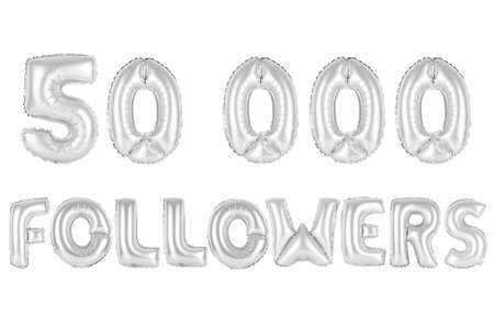 chrome (grey) alphabet balloons, 50K (fifty thousand) followers, chrome (grey) number and letter balloon Stock Photo